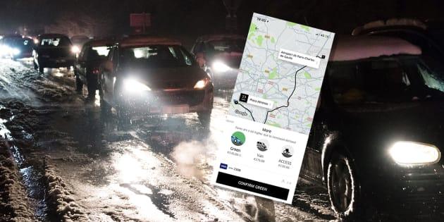 Uber assume l'explosion de ses prix face à la neige qui bloque l'Île-de-France