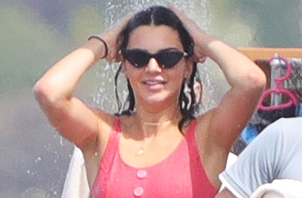 a840547d95031 Kendall Jenner flaunts bikini body in old-fashioned pink bikini at Cannes  2017