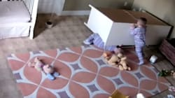 Baby Monitor Films 2-Year-Old Saving Twin Brother From Fallen