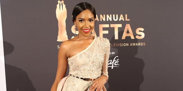 Blue Mbombo at the 2017 Saftas.
