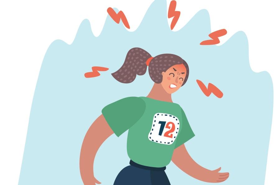 Representación gráfica de una mujer corriendo un maratón con malestar en la cabeza.