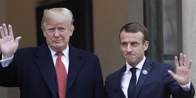 Trump es recibido por Macron.