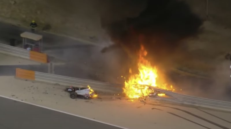 Haas F1 driver Romain Grosjean escapes fiery crash at Bahrain GP