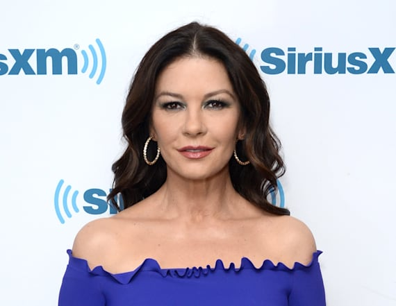 Catherine Zeta-Jones dazzles in cobalt gown