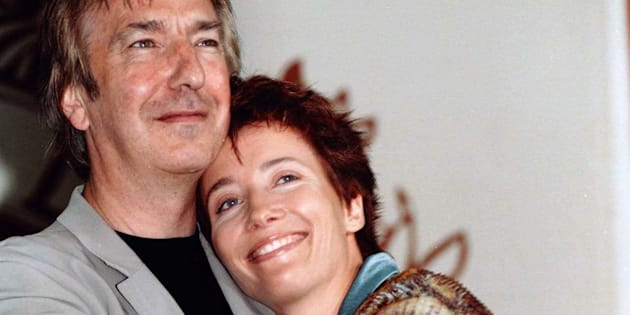 Alan Rickman and Emma Thompson embrace at the Venice Film Festival in 1997.
