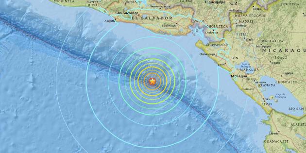 L'épicentre du tsunami était situé à environ 120 kilomètres au large des côtes du Salvador.