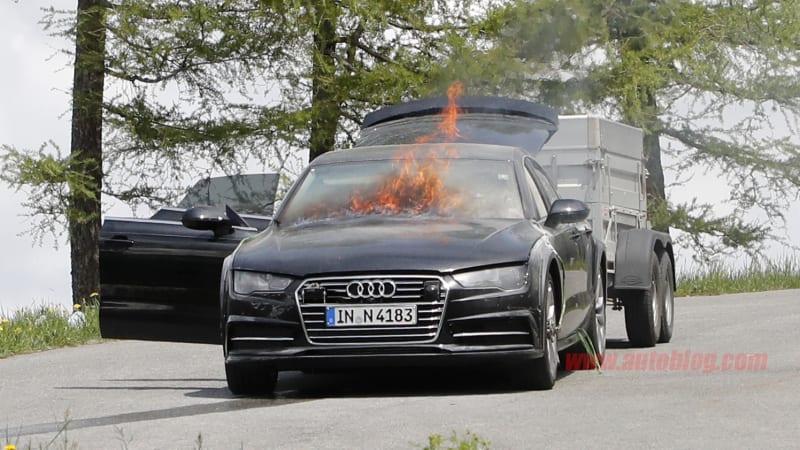 audi a7 test mule goes up in flames in austria autoblog. Black Bedroom Furniture Sets. Home Design Ideas