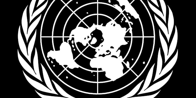 United Nations seal, graphic element on black