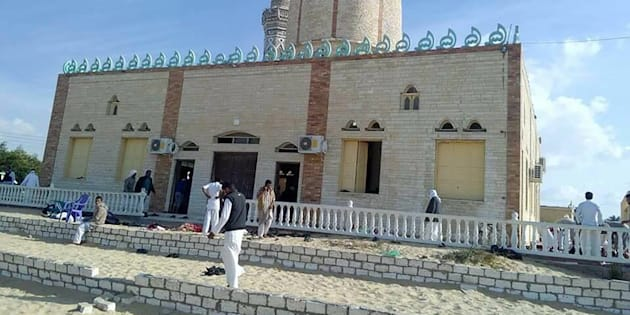 A bomb explosion ripped through the mosque before gunmen opened fire on the people inside.