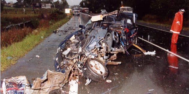 One of the many horrific car crash scenes Nationals MP Llew O'Brien attended as a road crash investigator.