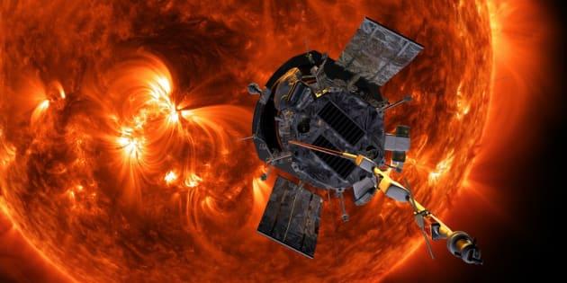 """Impresión artística de la sonda solar Parker aproximándose al Sol. Es la primera astronave que transitará por la corona del Sol, una misión """"histórica"""" que tiene como fin esclarecer los misterios que esconde el astro rey."""