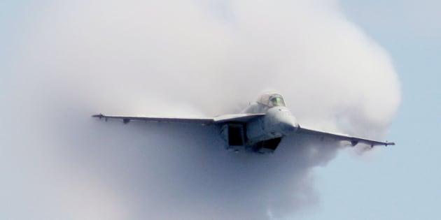 An F/A-18F Super Hornet strike fighter.