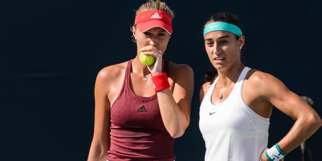 Kristina Mladenovic et Carolina Garcia dle 29 juillet 2016 à Montreal. Minas Panagiotakis/Getty Images/AFP