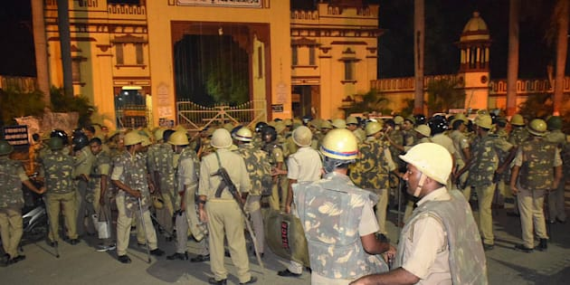 VARANASI, INDIA - SEPTEMBER 23: Heavy police personnel deployed at Banaras Hindu University where students were holding a protest, on September 23, 2017 in Varanasi, India. Several Banaras Hindu University (BHU) students, many of them girls, were injured on Saturday nig