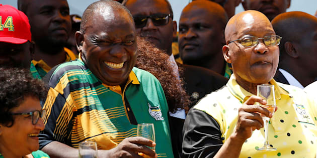 ANC president Cyril Ramaphosa celebrating the party's 106th anniversary with President Jacob Zuma in East London.