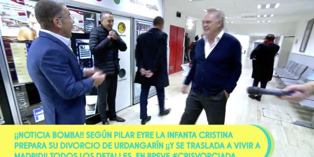Piqueras y Jorge Javier en los pasillos de Telecinco.