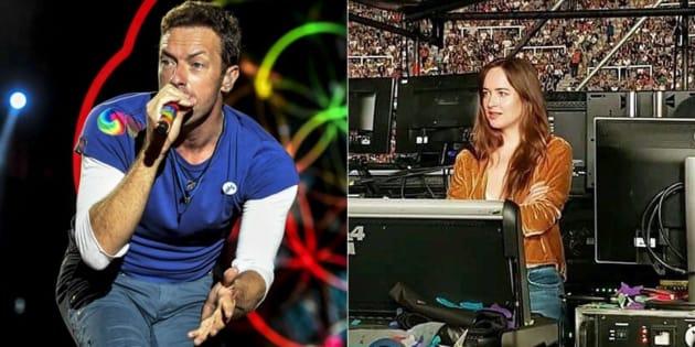 Dakota Johnson assistait depuis la régie son et lumières au concert du groupe britannique Coldplay.