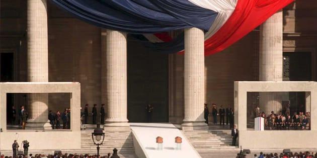 Les cendres de Marie et Pierre Curie transférées au Panthéon le 20 avril 1995.