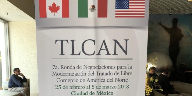 Imagen del lobby del hotel en Ciudad de México donde se lleva a cabo la séptima ronda de negociaciones del TLCAN.