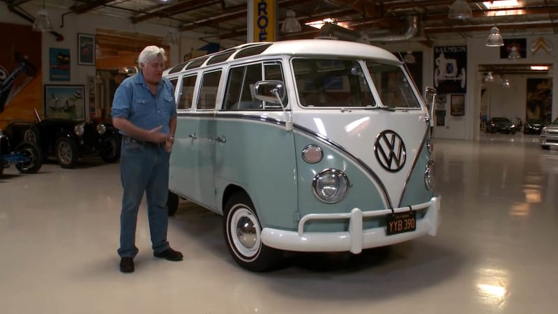 jay leno takes a ride in gabriel iglesias 39 classic 1966 vw bus autoblog. Black Bedroom Furniture Sets. Home Design Ideas