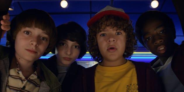 """Will, Mike, Dustin et Lucas les héros de la série Netflix """"Stranger Things""""."""