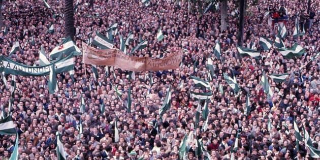 Imagen de la manifestación de Sevilla de aquel 4 de diciembre de 1977.