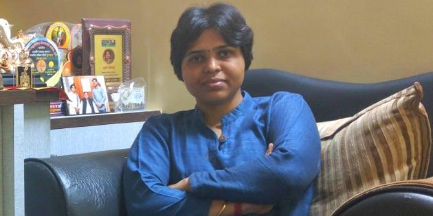 Activist Trupti Desai at her home office in Pune.