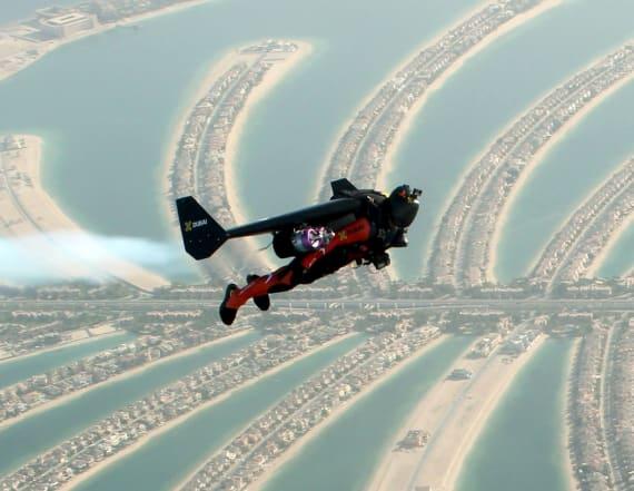 Jet-powered man flies like a superhero above Dubai