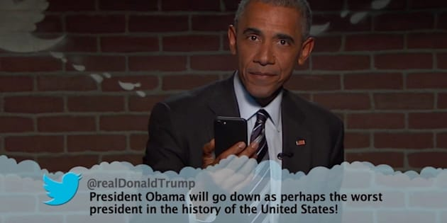 President Barack Obama reads mean tweets