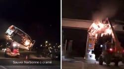 Des gilets jaunes détruisent un péage avec une camionnette en feu sur une
