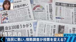 新聞見出しの「互角」、候補者の順序が優勢を