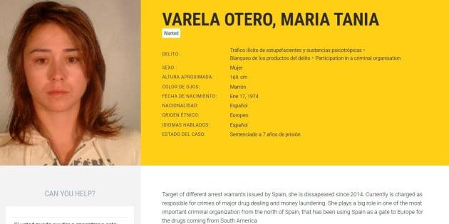 Imagen tomada de la web de Europol de la abogada MarÍa Teresa Varela Otero, detenida hoy.