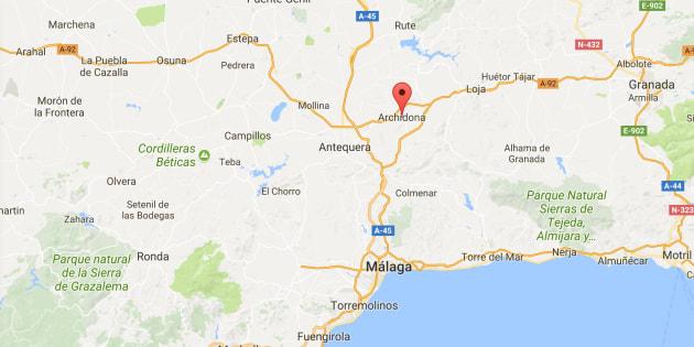 Mapa de localización de Archidona (Málaga).