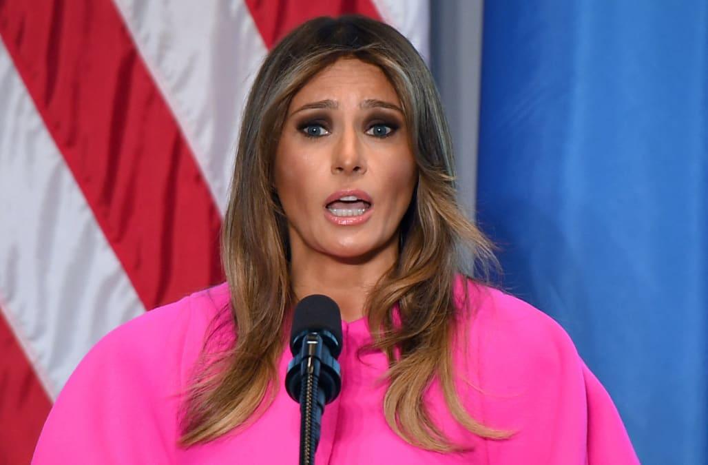 4dab2cb447b4 Melania Trump stuns in pink Delpozo dress at United Nations luncheon ...