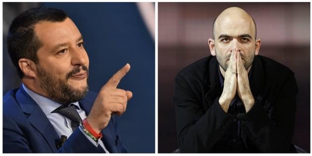 Combo con las imágenes de Salvini (izq) y Saviano (der).