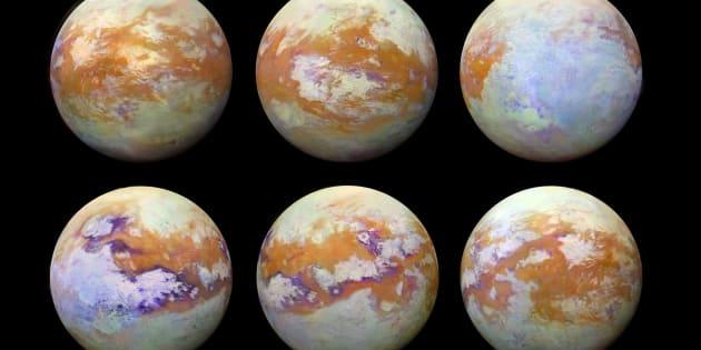 Ces six images de Titan, la lune de Saturne, ont été réalisées grâce aux observations infrarouge de la sonde Cassini.