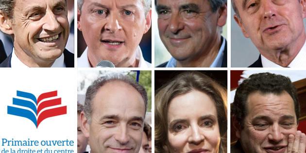 Les sept candidats en lice pour la primaire de la droite.