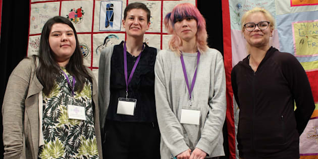 """Shae-Lynn Noskye, Erin Pavan, Cheylene Happi Ugh-na Moon and Fialka Osean Jack-Flesh speak about """"aging out of care"""" at a panel in Vancouver on April 6."""