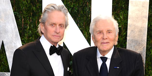 Michael Douglas with his father Kirk Douglas at the 2012 Vanity Fair Oscar Party in California.