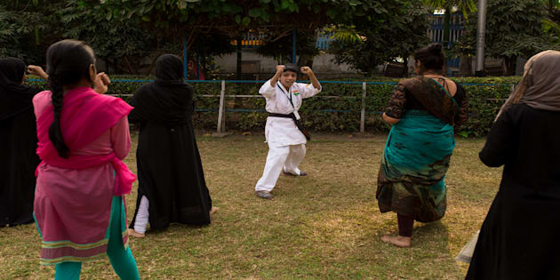 Ayesha leading the training session for girls in Ladies Park, Kolkata.