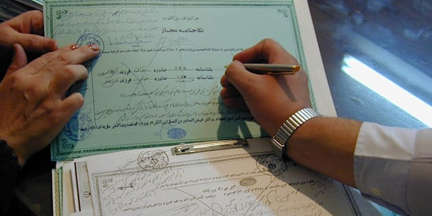 Certificates of temporary marriage (Sigheh or Nikah mut'ah) filed in a registry office run by a clergyman in Tehran. Shia Islam allows a man and woman to marry for a fixed period of time, ranging from an hour to a century.