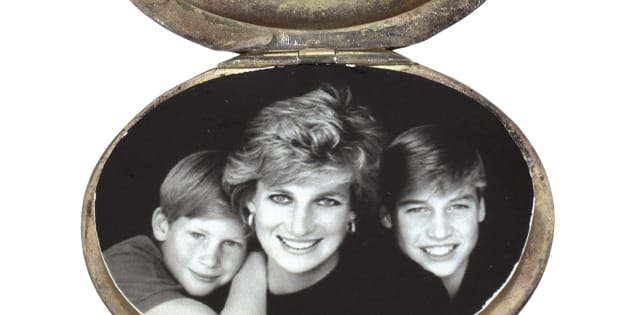 "This August 2017 photo provided by RR Auction shows a locket containing a photograph of Princess Diana and her sons Prince Harry, left, and Prince William, "" that is among dozens of items with a direct connection to the princess that are being sold at auction by Boston-based RR Auction. Bidding ends Sept. 13."