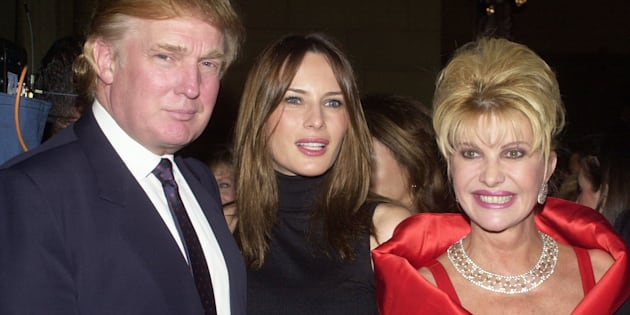 Donald Trump and girlfriend Melania Knauss are joined by Trump's former wife, Ivana, at a party at Cipriani's on Park Ave. for the benefit of Rockefeller University, circa 2000.
