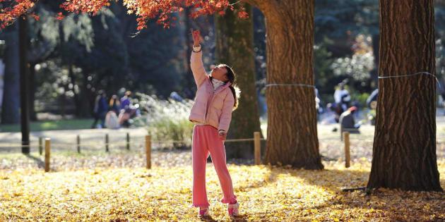 Una niña juega en un parque, en un soleado día de invierno.