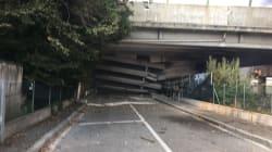 È parzialmente crollato il ponte sull'autostrada A14 a causa