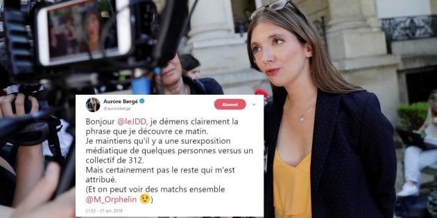 Aurore Bergé obligée de démentir une citation qui aurait mis le feu au groupe LREM.