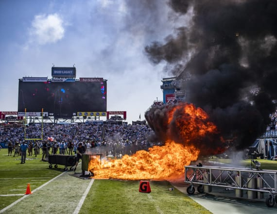 Pyro equipment at Titans game bursts into flames
