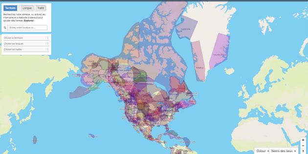 Une capture d'écran du site Territoires traditionnels, qui répertorie les territoires autochtones au Canada et dans plusieurs parties du monde