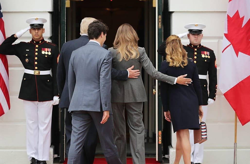 Melania trump displays masculine gesture upon greeting trudeaus at melania trump displays masculine gesture upon greeting trudeaus at white house says body expert m4hsunfo