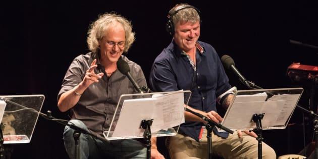 Philippe Laguë et Dominic Paquet lors d'un enregistrement d'«À la semaine prochaine».